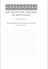 Okładka książki On Solitude Michel de Montaigne